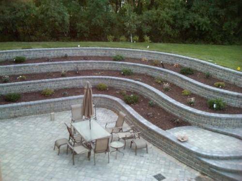 Finished custom retaining wall at walkout basement