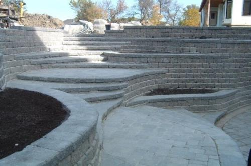 Custom retaining wall and planters at walkout basement